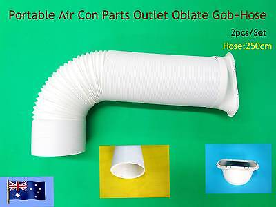Portable A/C Spare Parts Outlet oblate gob+Hose 2.5m only -2pc/set (15cm)