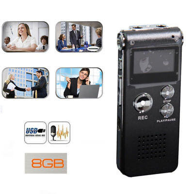 8GB Voice Recorder Dictaphone Digital Sound MP3 Player Rechargeable Gray Record