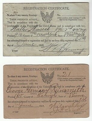 [57400] World War I United States Military Registration Certificates Dated 1917