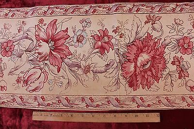 Antique French HandBlocked Indienne Border Or Stripe Printed Fabric c1840