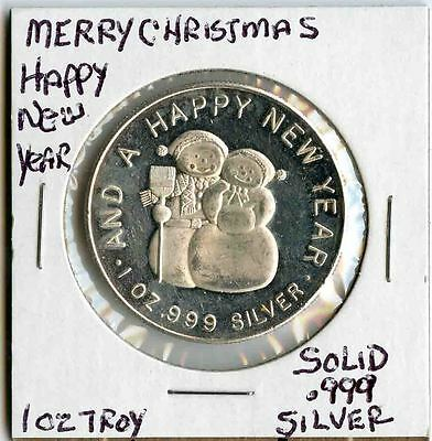 Collectible 1 oz .999 Merry CHristmas Happy New Year 1oz Silver Round, Nice !