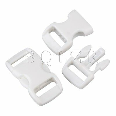 20 x 10mm Width Lightweight Multifunction Safety Quick Release Buckles White