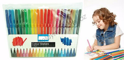 24 Water Coloured Colour Pens Marker Textas Non Toxic Craft Kid Painting Drawing