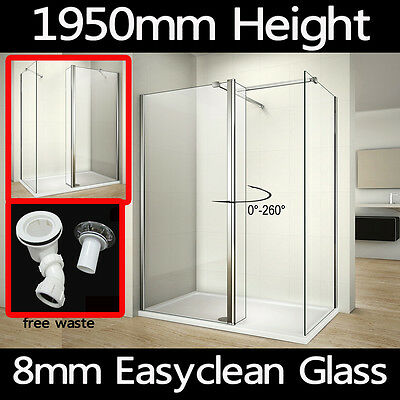 Wet Room Shower Enclosure Walk In Cubicle Screen Flipper Glass Panel Tray+Waste