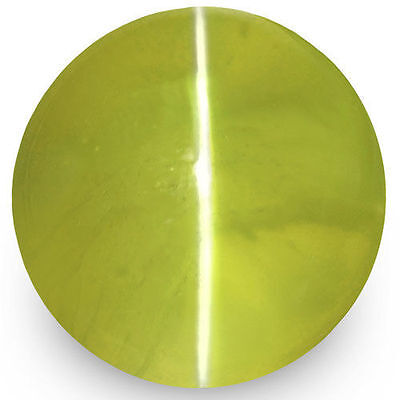 2.28-Carat 6mm Round Deep Yellow Green Chrysoberyl Cat's Eye (IGI-Certified)