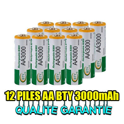12 PILES ACCUS RECHARGEABLE AA NI-MH 3000mAh 1.2V LR06 MIGNON - DIRECT DE FRANCE
