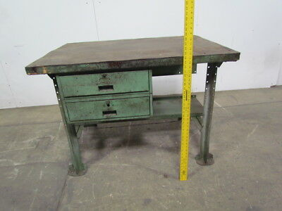 "48""x34"" butcher block wood top industrial workbench table kitchen island"