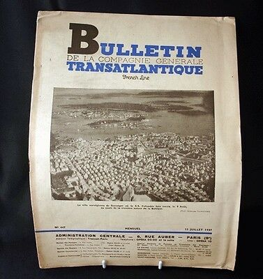 FRENCH LINE BULLETIN ATLANTIQUE A Bord de NORMANDIE Article