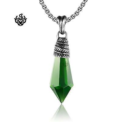 Silver leaf pendant green cz stainless steel necklace soft gothic