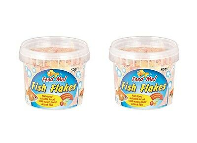 2 x Feed Me Fish Food Flakes For All Cold Water Pond & Tank Fish 50g Per Tub