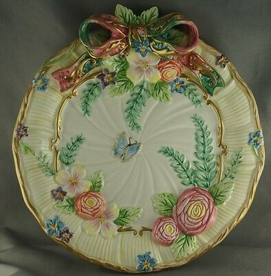 Fitz and Floyd Christmas Butterfly Decorative Plate Bow and Flowers