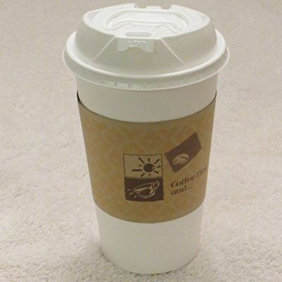 16 oz. Travel white Paper coffee  Cup + sleeves + White Reclosable lid - 50 sets