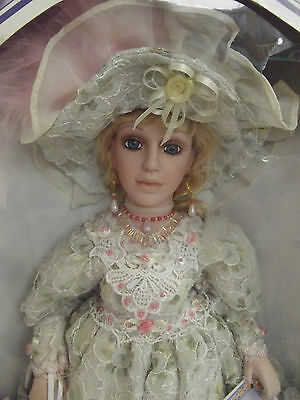 2004 Limited Edition Porcelain Doll Victorian Beautiful Dress Parasol Hat....36o
