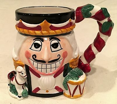 TIS THE SEASON 18oz Ceramic NUTCRACKER Mug or Candy Cane Holder, 3D Decor NEW