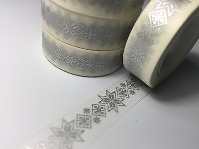Washi Tape Silver Nordic Knit 15Mm X 10Mtr Scrap Planner Craft Wrap Mail Art