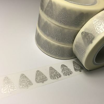 Washi Tape Silver Nordic Trees 15Mm Wide X 10Mtr Roll Scrap Planner Craft Wrap