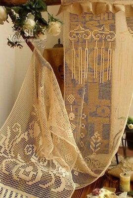 "72"" ONE Vtg Victorian Style Lace Curtain Panel Burlap Ruffle-ANTIQUE ROSE FRENCH"