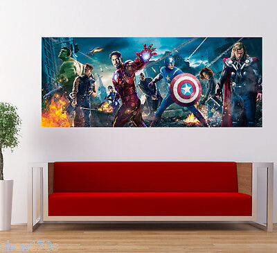 Marvel Avengers Poster Captain America Thor Iron Man Hulk Banner Large Art Deco
