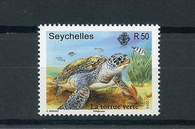 Seychelles 2014 MNH Green Sea Turtle 1v Set Turtles Reptiles La Tortue Verte