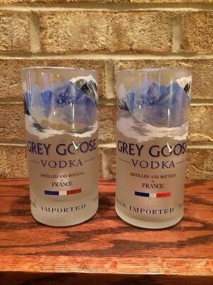 2x Grey Goose Vodka 750ml Bottle Tall Glasses