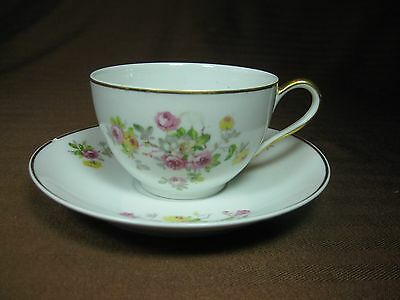 Rare 1930s Jean Boyer Limoges White Porcelain Cup and Saucer Tea Roses Gold Trim