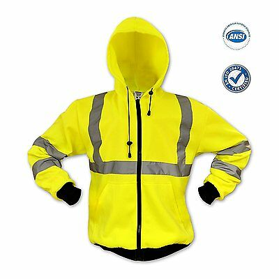 Ansi Hi Vis Reflective Safety Jacket Lime Long Sleeve Hoodie - All Sizes