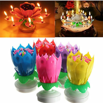 Hot Lotus Flower Rotating Happy Birthday Party Gift Lights Musical Candle