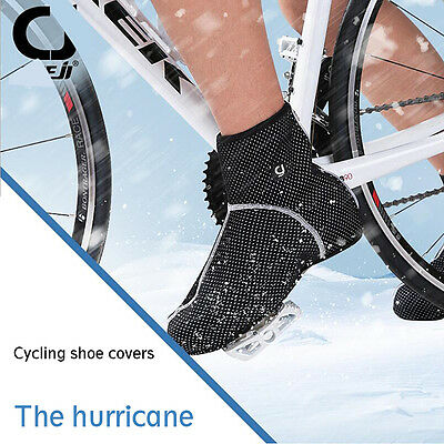 Waterproof Overshoe Warm Fleece Cycling Shoe Cover W/ Reflective Stripes 3 Sizes