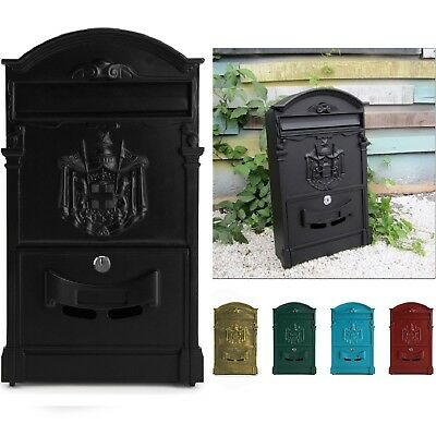 Large Aluminium Lockable Secure Mail Letter Post Box Mailbox Red and Bronze