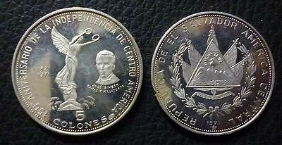 EL SALVADOR SILVER COIN 5 Colones, KM142 XF+ 1971 - 150th Anniv. of Independence