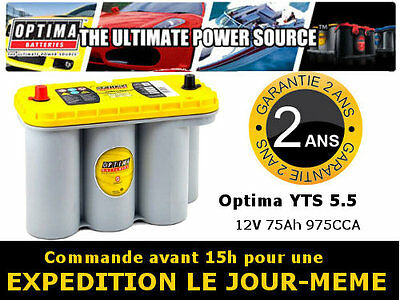 Batterie camping car Optima yellow top YTS 5.5 12v 75ah **