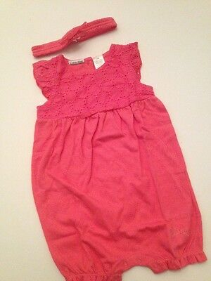 ed6013f1a81a Calvin Klein Baby Girl Sleeveless Romper Headband Set Size 24 Months Coral  Pink