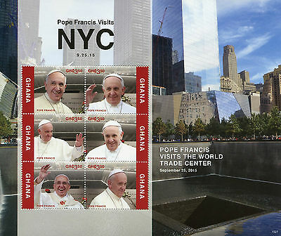Ghana 2015 MNH Pope Francis Visits NYC 6v M/S Popes World Trade Center
