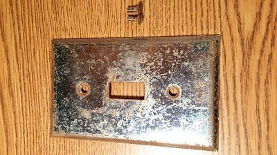 Vintage Metal Steel Light Switch Cover & Screws