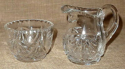 SET 2~Gorgeous OLD PRESSED & HAND CUT OPEN CRYSTAL SUGAR AND CREAMER SET