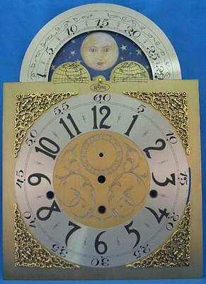 """Grandfather Clock Dial Hermle 1161-853 NEW Brass Color Moon 15 1/2"""" x 11"""" NICE"""
