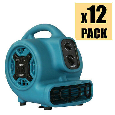 XPOWER P-230AT 1/5 HP Mini Air Mover Carpet Dryer Fan w/ Timer & Outlets 12 Pack