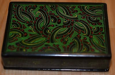 Small Wooden Flower Pattern Black Green Red Lacquer Box Japan China
