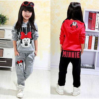 2pcs Girls Kids Minnie Mouse Clothes Tracksuit Top+Pant Outfits Casual Suit Set