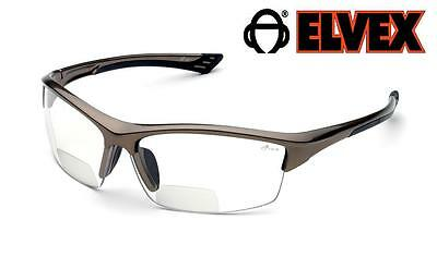 Elvex Sonoma 2.0 Clear Safety Glasses Bifocal Reading Maginfier Z87+