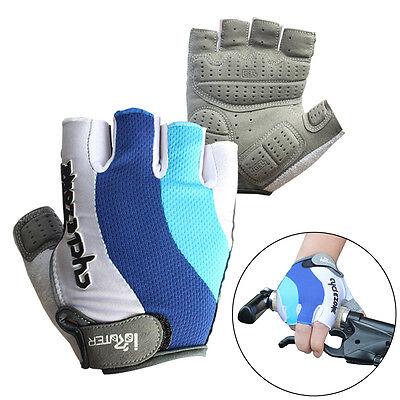 Cycling Bicycle Bike Motorcycle Gel Silicone Half Finger Fingerless Gloves M-2XL