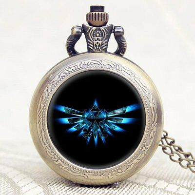 Vintage Mens Steampunk The Legend of Zelda Necklace Pocket Watch Long Chain