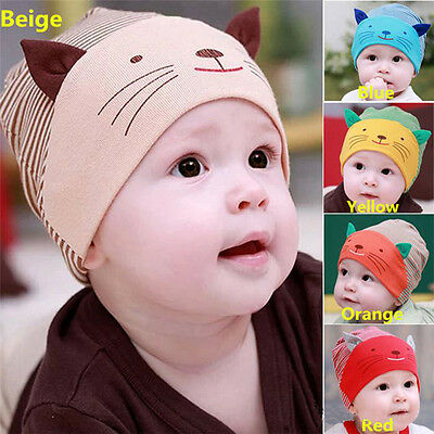 Cute Baby Infant Newborn Kids Boy Girl Hat Cotton Cat Stripe Beanie Cap Hot Sale