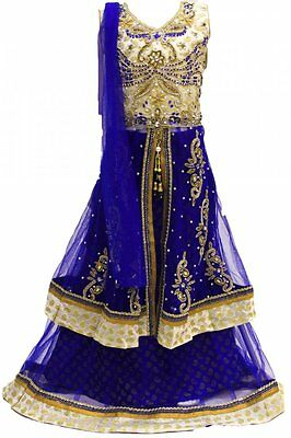 GLC2151 Beige and Medium Blue Girl's Lengha Choli  Indian Bollywood Fancy Dress