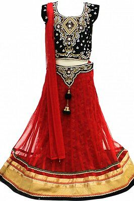 GLC2162 Black and Crimson Girl's Lengha Choli  Indian Bollywood Fancy Dress