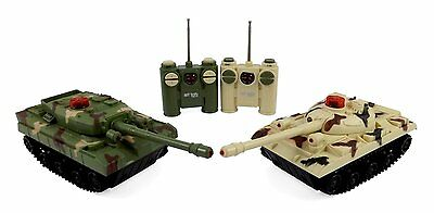 RC Fighting Battle Tanks - Set of 2 Abrams Remote Control Battling Tank Toys New