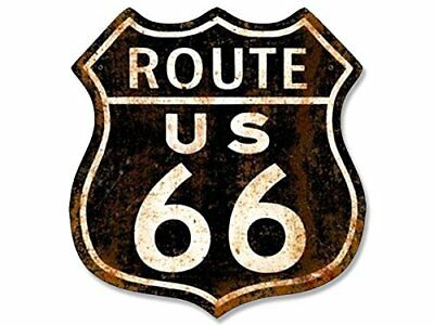 4x4 inch VINTAGE Black Rusty ROUTE 66 Sign Shaped Sticker - old historic highway