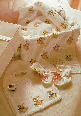 Baby Cot Blanket/Cover Teddy Bear motif Bib Bootees Knitting Pattern 4ply 620