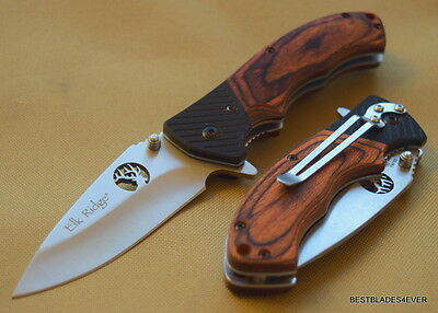 Elk Ridge Brown Wood Handle Folding Knife Razor Sharp Blade With Pocket Clip