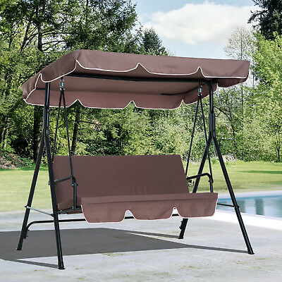 Outsunny Swing Chair Garden Hammock 3 Seater Metal Seat Hanging Outdoor Patio